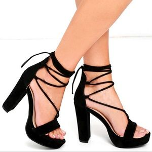 Lulus black lace up high heels